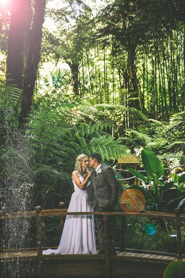 Bride+and+groom+standing+on+arch+bridge+with+greenery+in+the+background