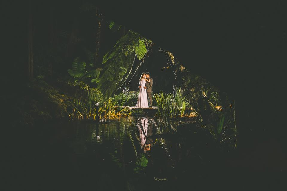dark+framed+photo+of+the+bride+and+groom+standing+next+to+a+pond+at+night