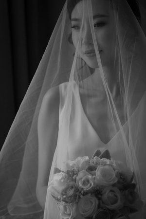 Waist+up+photo+of+bride+with+veil+over+her+face